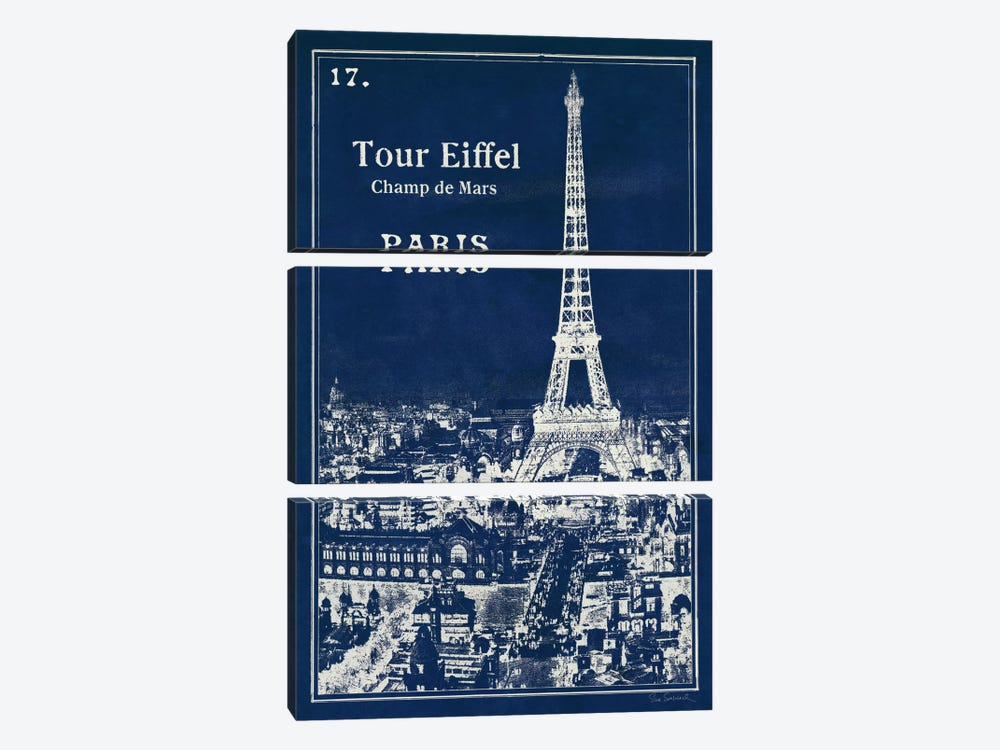 Blueprint Eiffel Tower by Sue Schlabach 3-piece Canvas Art
