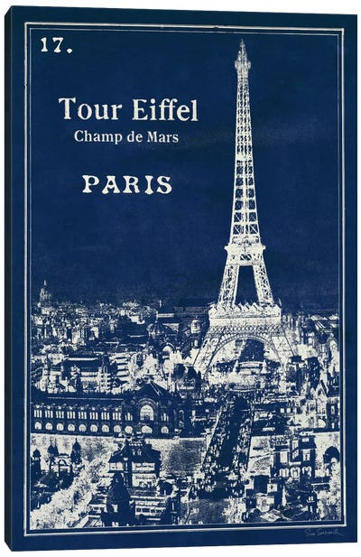 Blueprint Eiffel Tower Canvas Art Print