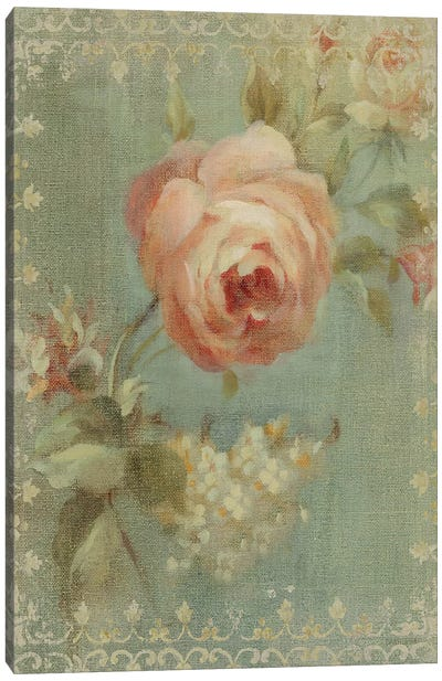Rose on Sage Canvas Art Print