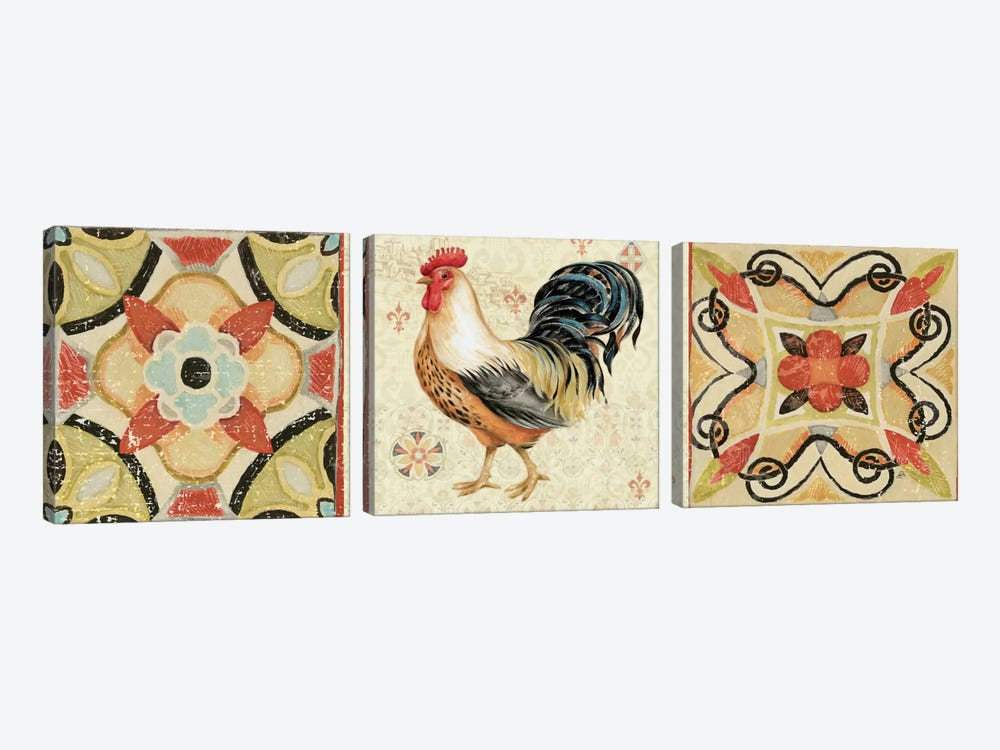 Bohemian Rooster Panel I by Daphne Brissonnet 3-piece Art Print