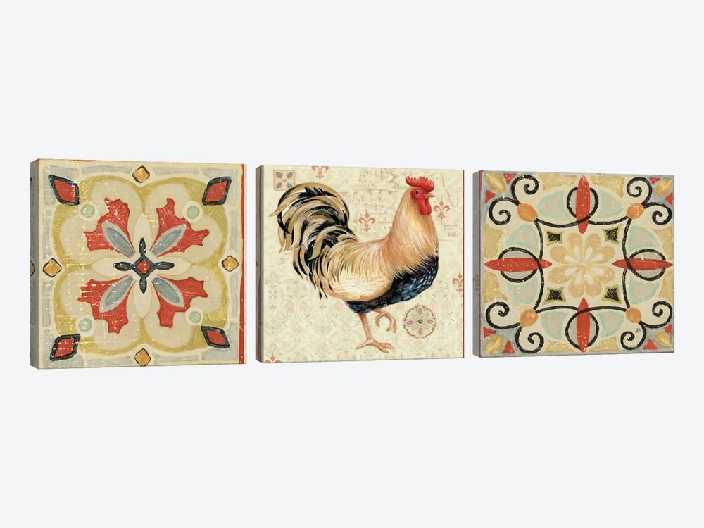 Bohemian Rooster Panel II  by Daphne Brissonnet 3-piece Canvas Wall Art