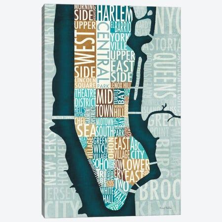 Manhattan Map Blue Brown   Canvas Print #WAC2140} by Michael Mullan Canvas Artwork