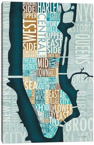 Manhattan Map Blue Brown   Canvas Art Print