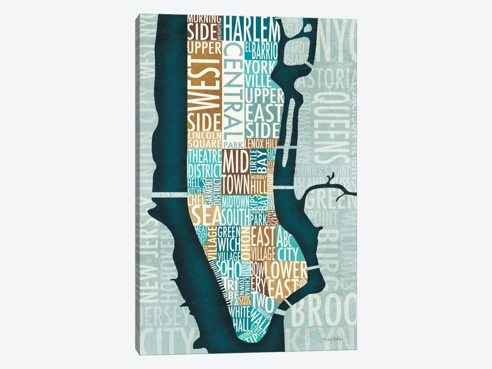 Manhattan Map Blue Brown by Michael Mullan 1-piece Canvas Print