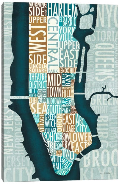 Manhattan Map Blue Brown   Canvas Art Print
