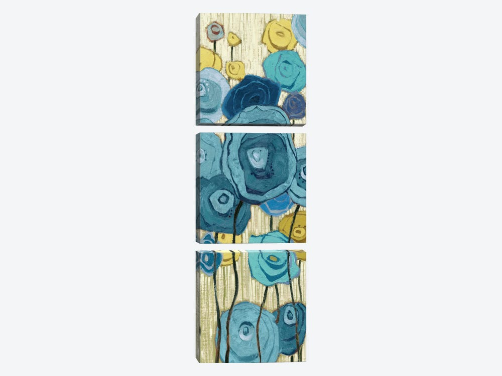 Lemongrass in Blue Panel I  by Shirley Novak 3-piece Canvas Wall Art