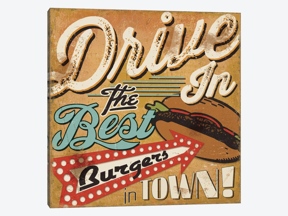 Diners and Drive Ins I by Pela Studio 1-piece Canvas Print