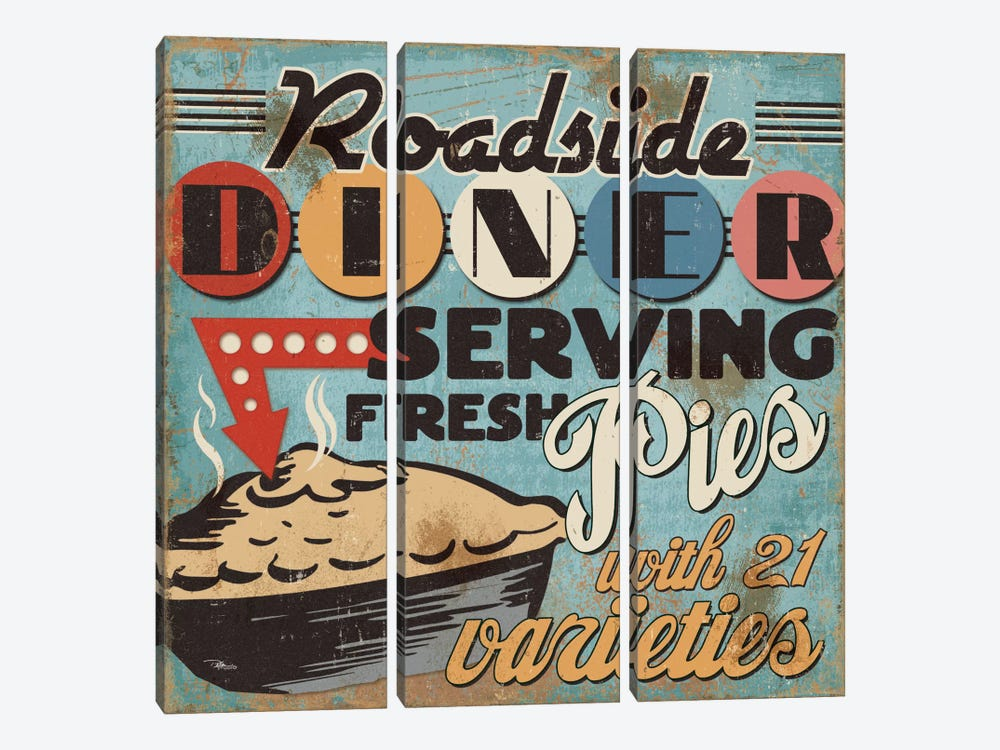 Diners and Drive Ins II by Pela Studio 3-piece Canvas Artwork