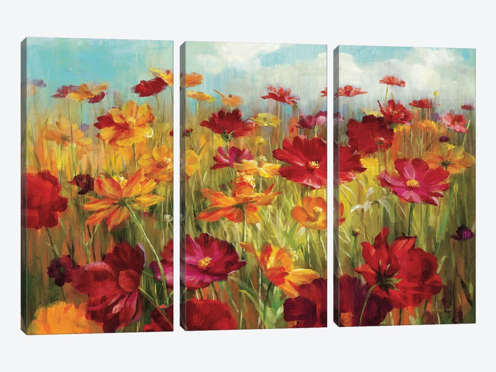 Cosmos in the Field by Danhui Nai 3-piece Canvas Art Print