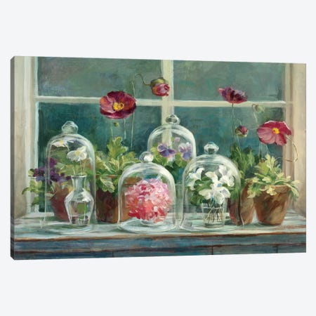 Purple Poppies Windowsill Crop Canvas Print #WAC223} by Danhui Nai Canvas Wall Art