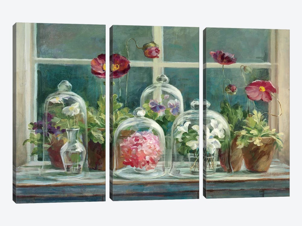 Purple Poppies Windowsill Crop by Danhui Nai 3-piece Canvas Artwork