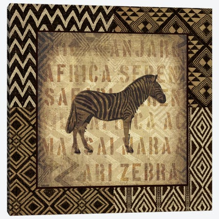 African Wild Zebra Canvas Print #WAC2245} by Wild Apple Portfolio Canvas Wall Art