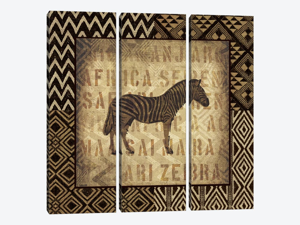 African Wild Zebra by Wild Apple Portfolio 3-piece Canvas Wall Art