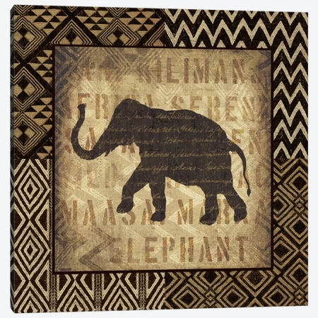 African Wild Elephant Canvas Print #WAC2246} by Wild Apple Portfolio Canvas Wall Art