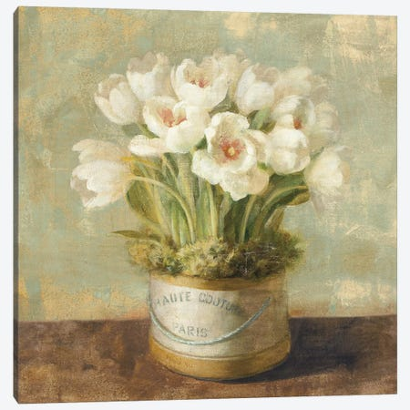 Hatbox Tulips Canvas Print #WAC225} by Danhui Nai Canvas Print