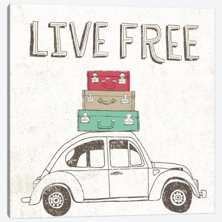 Road Trip Beetle Luggage Canvas Print #WAC2263} by Oliver Towne Art Print