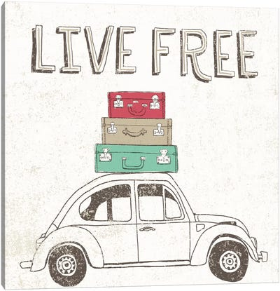 Road Trip Beetle Luggage Canvas Art Print