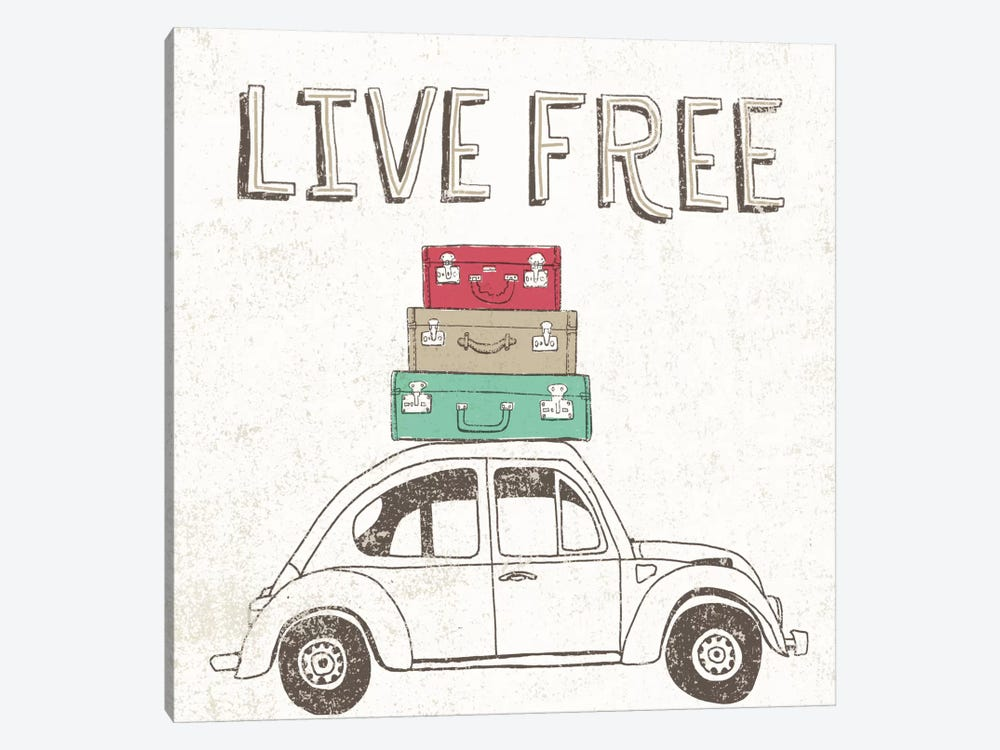 Road Trip Beetle Luggage by Oliver Towne 1-piece Canvas Art