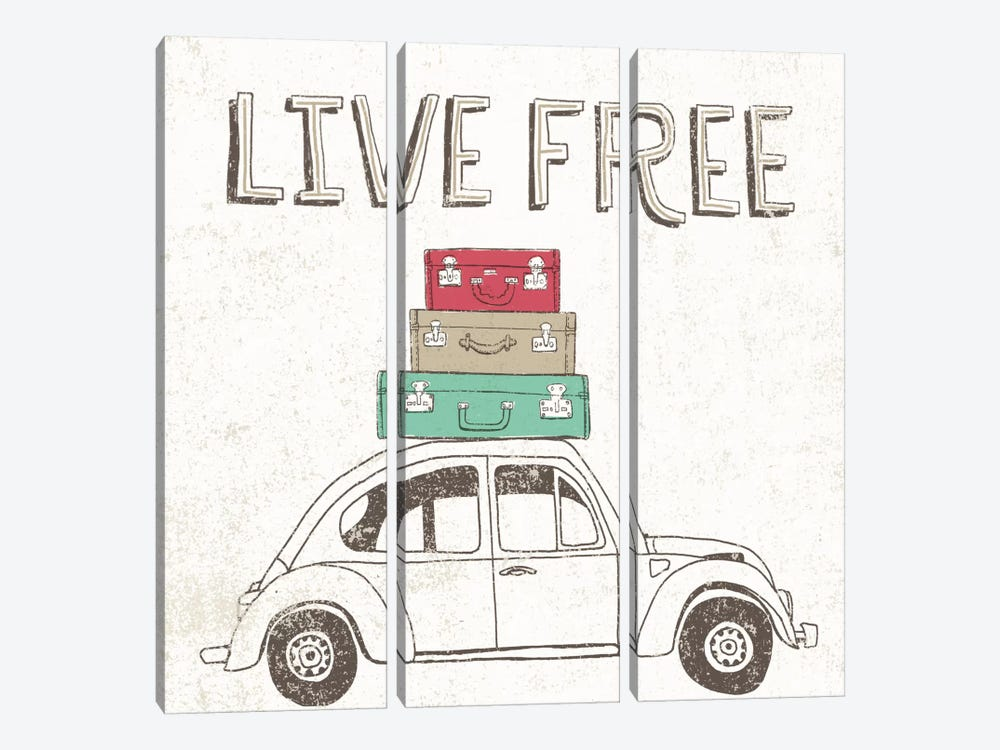 Road Trip Beetle Luggage by Oliver Towne 3-piece Canvas Artwork