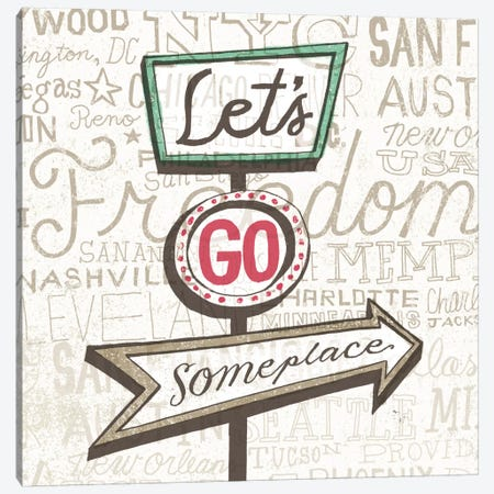 Road Trip Route Lets Go Someplace Canvas Print #WAC2268} by Oliver Towne Canvas Print