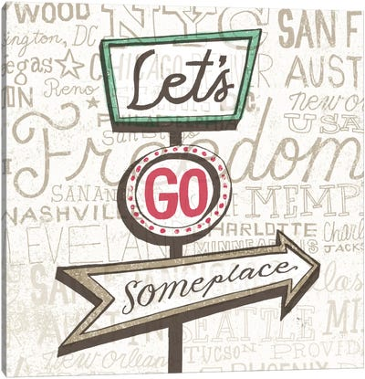 Road Trip Route Lets Go Someplace Canvas Art Print
