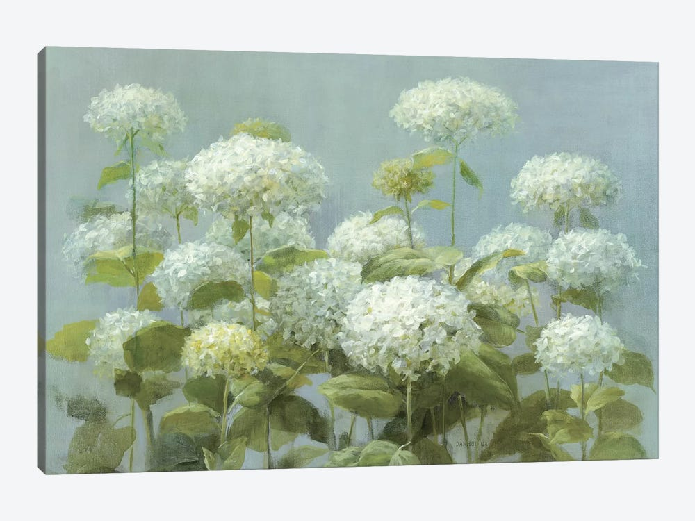 White Hydrangea Garden by Danhui Nai 1-piece Canvas Art Print