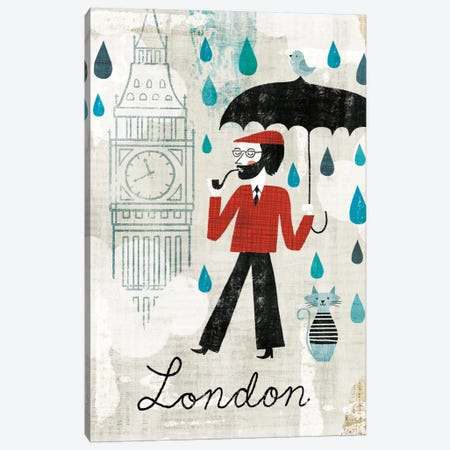 Rainy Day London Canvas Print #WAC2279} by Michael Mullan Canvas Artwork