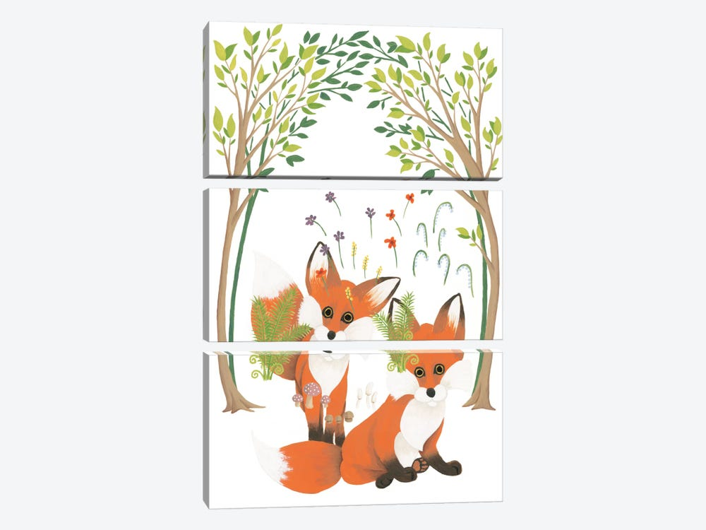 Fox Family Elements by Elyse DeNeige 3-piece Canvas Art Print