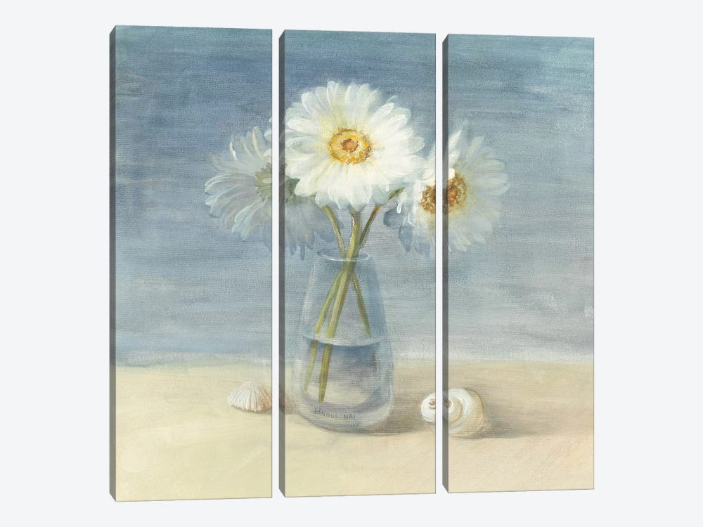 Daisies and Shells by Danhui Nai 3-piece Canvas Print