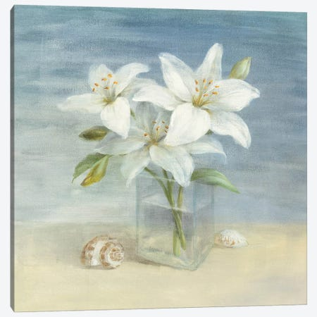 Lilies and Shells Canvas Print #WAC232} by Danhui Nai Art Print