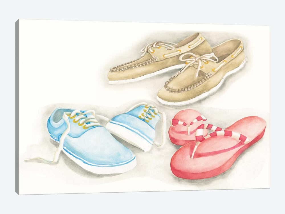 My Beach House Weekend Series: Shoes by Elyse DeNeige 1-piece Canvas Art Print