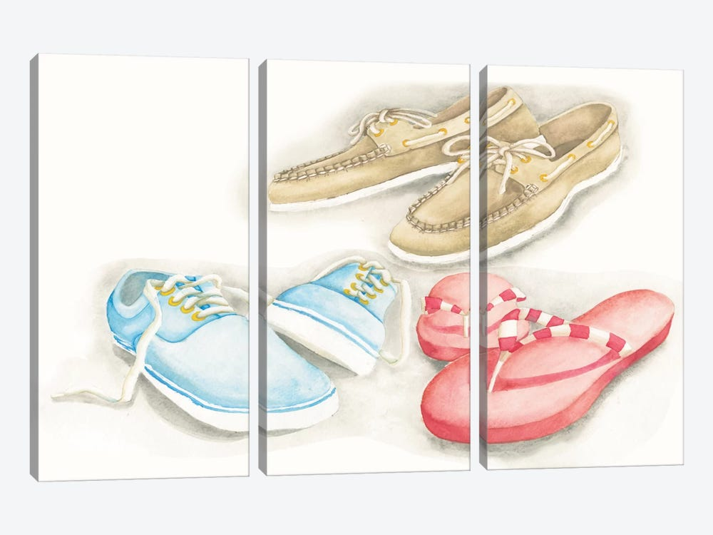 My Beach House Weekend Series: Shoes by Elyse DeNeige 3-piece Canvas Print