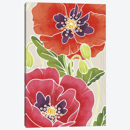 Sunshine Poppies Panel I Canvas Print #WAC2371} by Elyse DeNeige Canvas Art Print