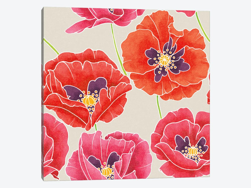 Sunshine Poppies Patterns by Elyse DeNeige 1-piece Canvas Art