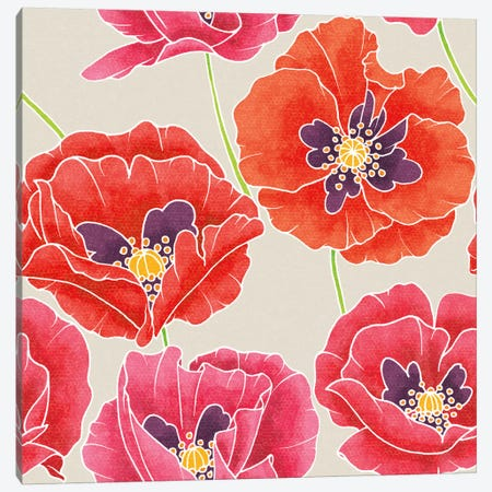 Sunshine Poppies Patterns Canvas Print #WAC2373} by Elyse DeNeige Art Print