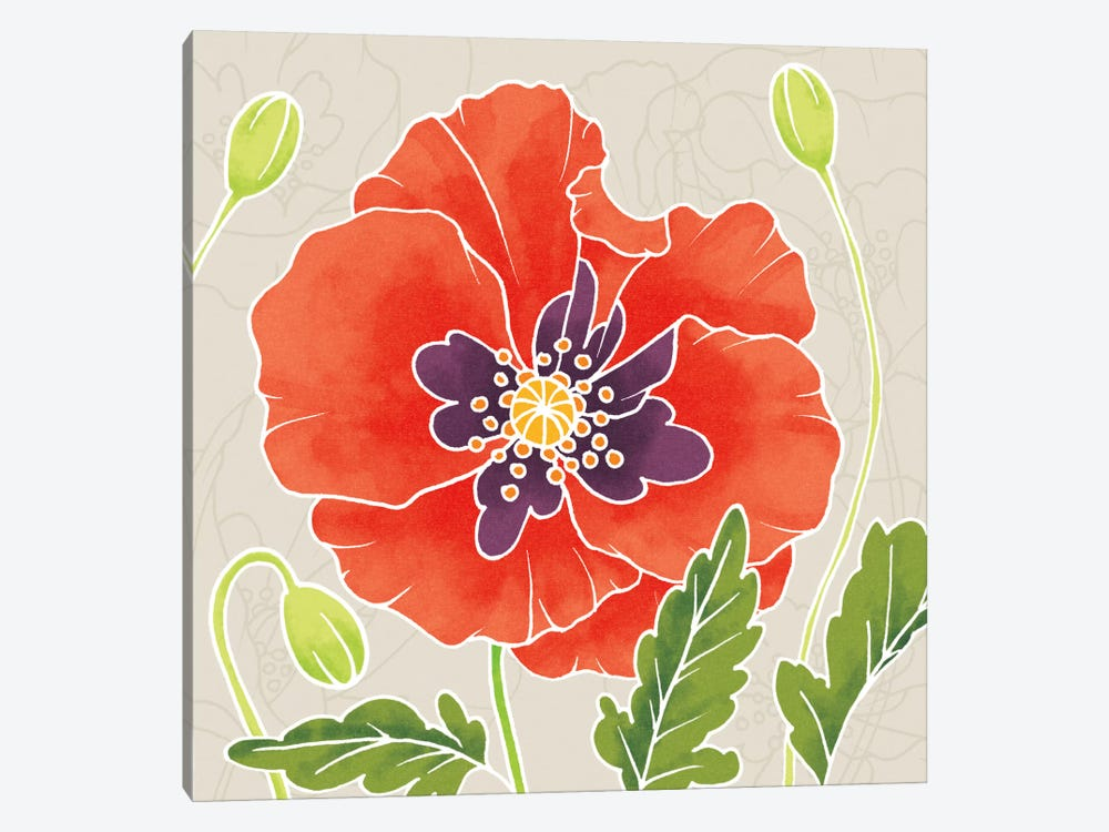 Sunshine Poppies Square I by Elyse DeNeige 1-piece Canvas Print
