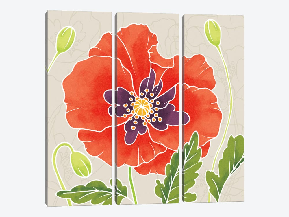 Sunshine Poppies Square I by Elyse DeNeige 3-piece Canvas Art Print
