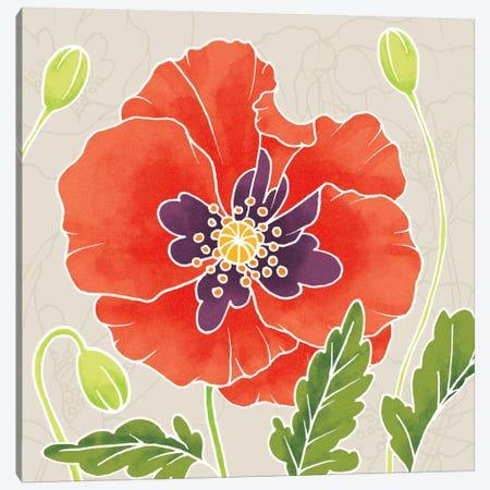 Sunshine Poppies Square I Canvas Print #WAC2374} by Elyse DeNeige Canvas Wall Art