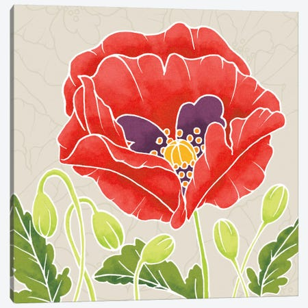 Sunshine Poppies Square III Canvas Print #WAC2376} by Elyse DeNeige Canvas Art