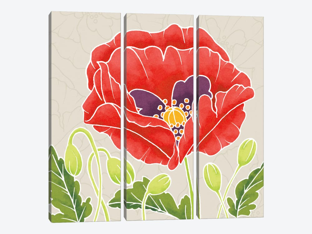 Sunshine Poppies Square III by Elyse DeNeige 3-piece Canvas Print