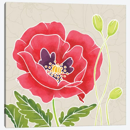 Sunshine Poppies Square IV Canvas Print #WAC2377} by Elyse DeNeige Canvas Art
