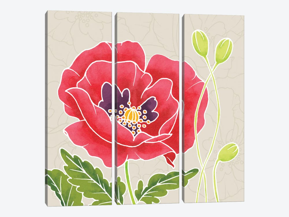 Sunshine Poppies Square IV by Elyse DeNeige 3-piece Canvas Wall Art