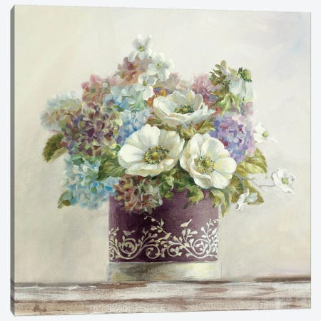 Anemones in Aubergine Hatbox Canvas Print #WAC241} by Danhui Nai Canvas Artwork