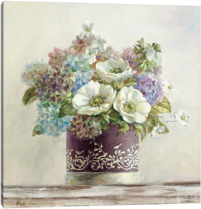 Anemones in Aubergine Hatbox Canvas Art Print