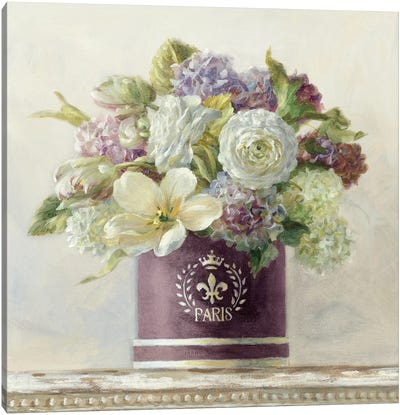 Tulips in Aubergine Hatbox Canvas Art Print