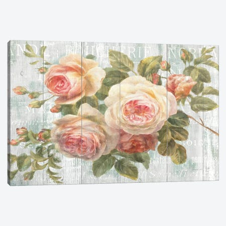Vintage Roses on Driftwood Canvas Print #WAC243} by Danhui Nai Canvas Art