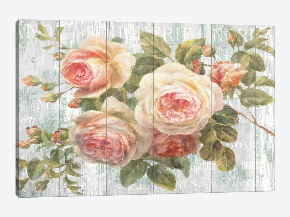 Vintage Roses on Driftwood by Danhui Nai 1-piece Canvas Artwork