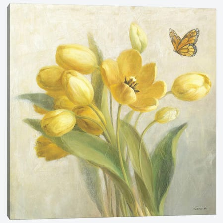Yellow French Tulips Canvas Print #WAC244} by Danhui Nai Canvas Print