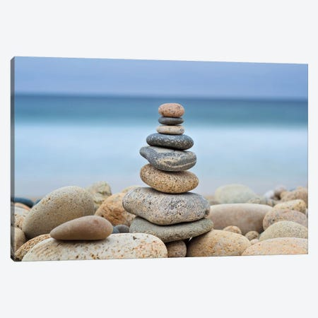 Stonewall Beach Cairn Canvas Print #WAC2472} by Katherine Gendreau Canvas Artwork