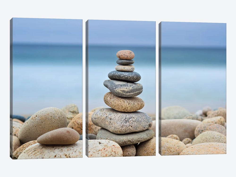 Stonewall Beach Cairn by Katherine Gendreau 3-piece Canvas Wall Art